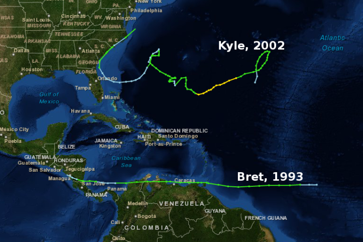 Hurricane Kyle, 2002 and TS Bret, 1993.
