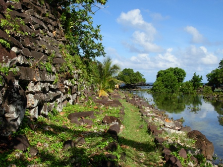 "The volcanic ""log"" city of Nan Madol. Photographer: Lieutenant Commander Matthew Wingate, NOAA Corps"