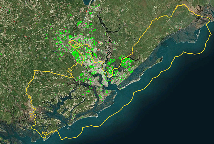 Figure 1. Changes in developed land in Charleston County, SC (outlined in yellow) from 2001 - 2010. Green = gains, red = losses.