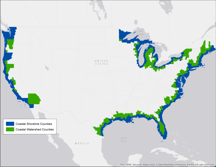 Map showing the difference between coastal shoreline counties and coastal watershed counties