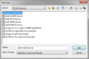 Add GIS Servers Dialog