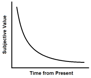 Conceptual graph of subjective value versus time from present with value decreasing with time similar to y=1/x.