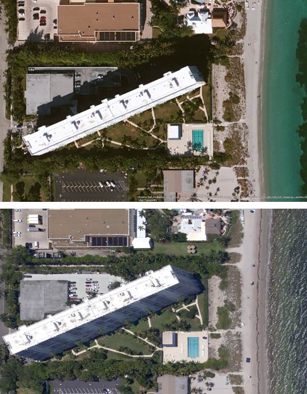 ESRI World Imagery (top) and 2015 oblique (bottom) imagery of the MIami, FL area acquired by NOAA's National Geodetic Survey. Oblique image allows you to see the side of the tall building.