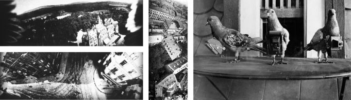 Oblique aerial imagery acquired from pigeons fitted with cameras in 1907. Includes an image of a pigeon with a camera strapped to its chest.