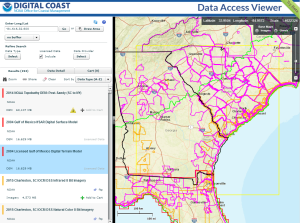 Screen capture of the version 3 Data Access Viewer showing the results of a search in the southeast. Polygon outlines of data sets are shown with outline colors signifying data type.