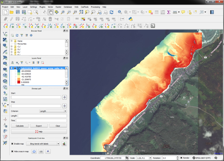 Bathy data shown with a psuedocolor map on top of aerial imagery where the topographic data has been turned transparent.