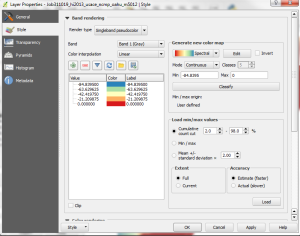 The layer properties dialog box is shown after setting singleband psuedocolor, adjusting the range, and clicking the classify button. It now includes a legend showing the elevation range for each color.