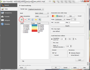 "The layer properties dialog is shown after adding a new color and range using the green ""plus"" button (circled in red) and setting the color to transparent."