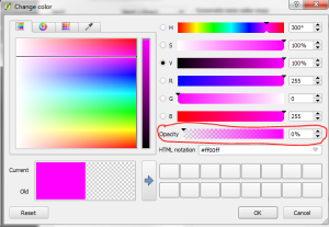 Change color dialog box with the opacity control circled.
