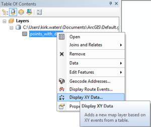 Screengrab of context menu displaying the XY points.