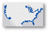 Image showing the footprint of the Ocean Economy on a map of the US.
