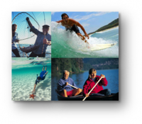 People doing ocean-related recreation activities, surfing, fishing, swimming, kayaking