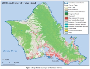 land cover for Oahu with tsunami zone shown