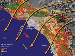 image showing conceptual fire risk in California. Arrows show the flow of air currents over southern California