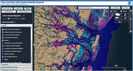 image of the NOAA slr viewer showing marsh and land cover change