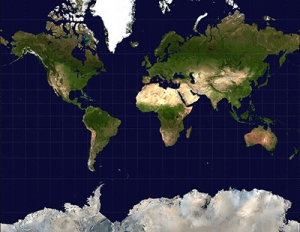Mercator projection of the world.