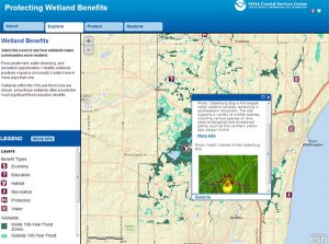 Screen grab of the wetlands benefits storymap.