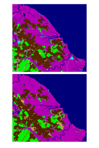 two land cover maps are show. One is derived from high resolution imagery and the other from 30 meter landsat. They look similar.