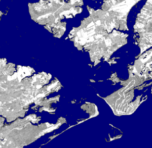 Landsat imagery classified for water at high tide