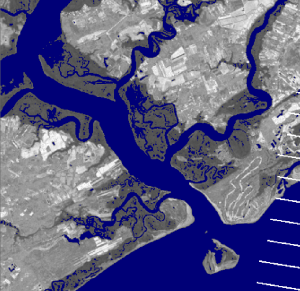 Landsat imagery classified for water at low tide