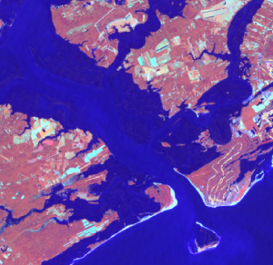 Landsat imagery of Edisto ad Charleston at high tide