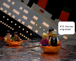 Image of lego figures in a boat.