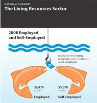 Graphic comparing the employed and self-employed in the living resources sector in 2008. 58,470 employed versus 55,070 self-employed.