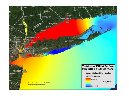 graphic of the mean higher high water relative to NAVD88