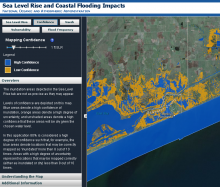 screen grab of the NOAA sea level rise viewer