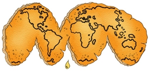 image show the world as if drawn on an orange and then peeled and laid flat