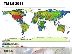 Number of images captured by Landsat TM 5 in 2011. Image courtesy ofUSGS.