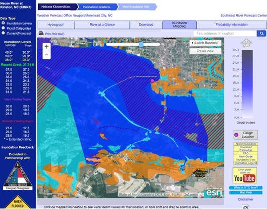 Example of an inundation map for the Neuse River at Kinston, NC based on predicted flooding of 28 ft (gauge height) compared to FEMA 1% chance (100-year – light blue) annual flood boundary and 0.2% chance (500-year - orange).
