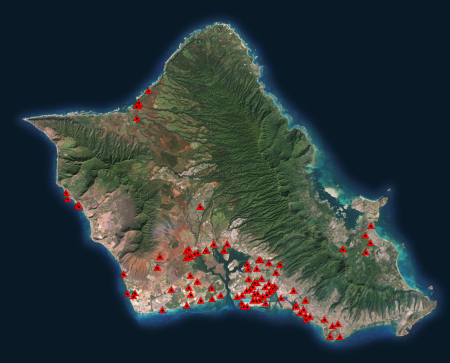 Locations of the LMSL and GPS comparison points on Oahu are shown as red triangles.