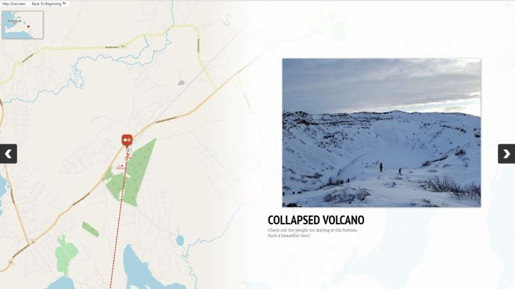 Image showing the location of a collapsed volcano in Iceland.
